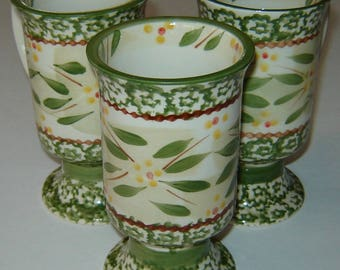 TEMPTATIONS OLD WORLD - Set of Three (3) Green Pedestal Footed Coffee Mugs/Cafe Cups or Irish Coffee Cups - Presentable Ovenware by Tara