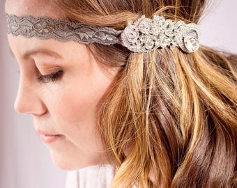 Handcrafted Austrian Crystal Clear Teardrop Headband - Adult Headband - Fancy Headband - Rhinestone Christmas Headband - Bridal Headpiece