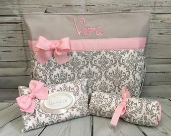 Diaper Bag SET ... DAMASK Madison  in Gray ...   Diaper Bag... Bottle Pockets .. Wipe Cover ... Changing pad