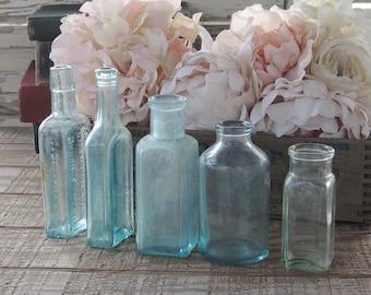Handblown Sea Glass Blue Bottles, Set of 5, Beach Cottage Aqua Hand Dug Sea Glass Soda Bottles, Diffuser Bottles Collection 2