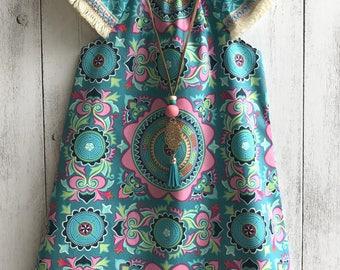 """Boho """"Free Spirit"""" dress - Mandala Design with boho trim sleeves,  Size 1 to 6"""