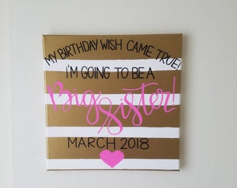 Baby Announcement Canvas   Baby Reveal   Pregnancy Announcement   New Baby   Nursery Decor   Wall Decor