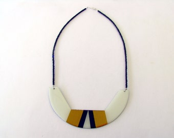 Geometric Bib Necklace-Resin Necklace-Resin Statement Necklace-Gold Resin Necklace-Resin Gold-Modern Jewellery-Contemporary Jewelry