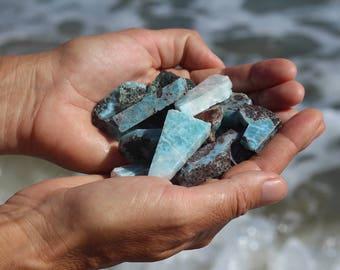 150 gr raw larimar, larimar stone, larimar pieces, cut larimar pieces for jewelry making