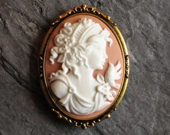 Peach cameo brooch, pink cameo brooch, dove brooch, antique gold brooch, holiday gift ideas, gift ideas for mom, unique Christmas gift