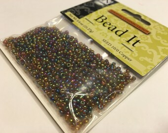 packages of copper seed beads, 10/0 (SB1)