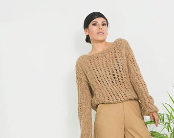 Brown slouchy sweater knit   Brown pullover knit  womens sweater  Boho sweater  Alpaca knit sweater  cable knit sweater women/ SALE