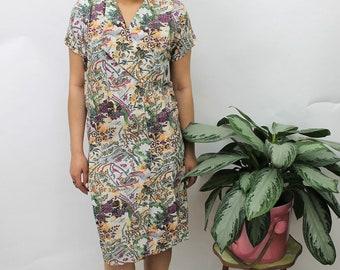 1960s Floral Print Dress Size UK 10, US 6, EU 38