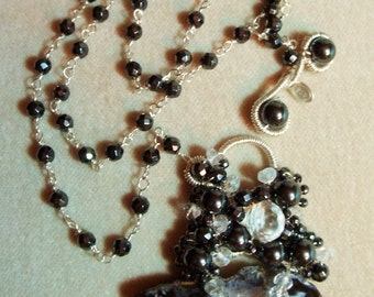 Geode Slice, Hematite, White Topaz and Rock Crystal Quartz Sterling Necklace, Wire Wrapped, OOAK