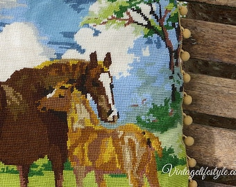 Mare and Foal Needlepoint Cushion