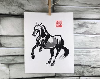 "Horse art original - ""Strike"" - Chinese brush painting (unframed)"