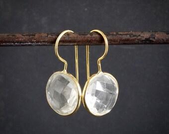 Crystal Drop Earrings, Gold Drop Earrings, Crystal and Gold Earrings, Round Earrings, April Birthstone, Rock Crystal, Clear Quartz