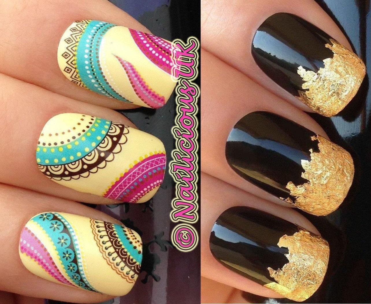 Nail art set 238 ethnic boho hippy chic colourful pattern zoom prinsesfo Images