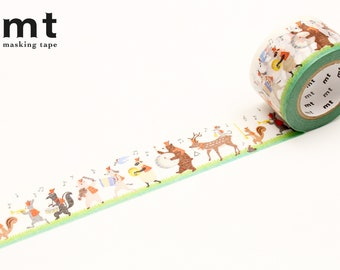 30mm width | MT EX - Animal Drum and Fife Band Washi Masking Tape