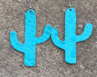 Turquoise croc leather, croc leather earrings, custom earrings, leather earrings, leather, earrings, cactus earrings, cactus