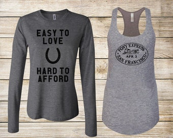 SALE! Equestrian T-Shirt Bundle: Easy to Love Hard to Afford Heather Gray Long Sleeve & Pony Express Racerback Tank - Size Junior Small
