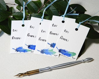 Hand-painted Blue Feather Gift Tags