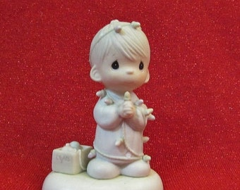 Precious Moments Figurine 1985  May Your Christmas Be Delightful  Enesco 15482