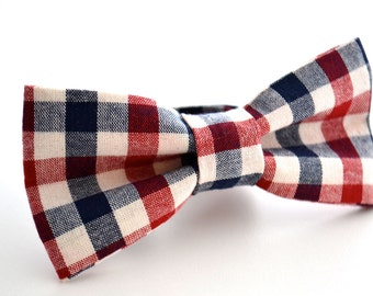 Adult Bow Tie, Navy and Maroon Plaid, Grooms Gift, Mens Bow Tie, Gift For Him, Pre-Tied Bow Tie, Gift For Men