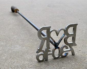 Custom Branding Iron with Date and Initials - Wedding branding iron