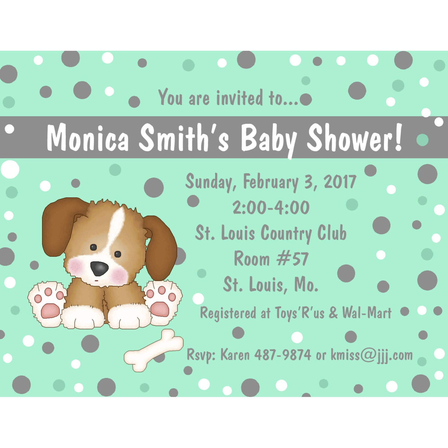20 Personalized Baby Shower Invitations Puppy Dog Mint