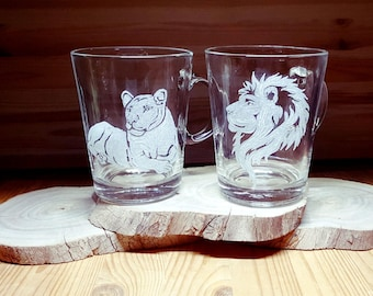 Lions Gift, Lion gifts, Unique Lions gift , Lion, Lion gift, lion love, 2 Coffee Mugs, lion art, Lioness, Glass mug, Engraved Glass, Lions,