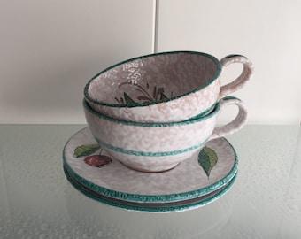 Italiaans retro design soepkommen soup bowls from the sixties made in Italy handgeschilderd