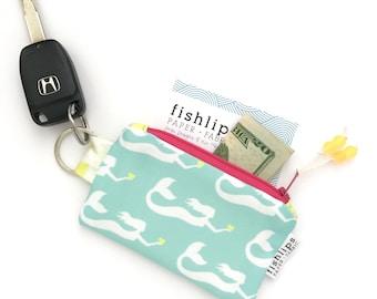Mermaid Recycled Key-chain Coin Purse, Tropical Mini Zipper Pouch, Beach Girl Wallet, Pink Handmade Pouch, Gift For Water Lover, Beach Bag