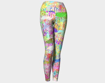 Flamingo Mania Yoga Leggings, Women's Yoga Leggings, Leggings, Yoga Pants
