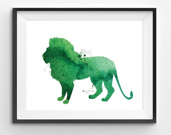 Green Lion Watercolor Print, Lion Print, Lion Digital Print, Abstract Lion Print, Lion Art, Living Room Decor, Modern Kids Art