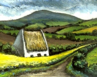Quaint cottage - 5x7 print of an original painting by Tanya Bond - beautiful Irish landscape with rolling hills
