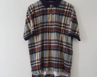 Rare vintage Nautica plaid polo shirt, large