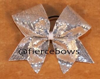 Silver Sparkle Cheer Bow