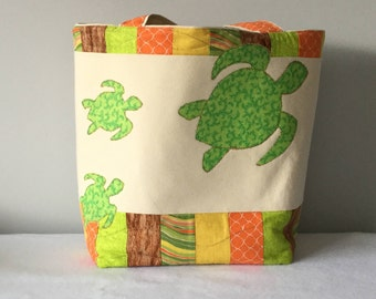 Green and Orange Quilted Sea Turtle Beach Bag