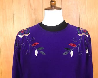 Purple Sweater Floral Embroidery Batwing Dolman Sleeves Pullover Jewel Tones ~ Medium Large