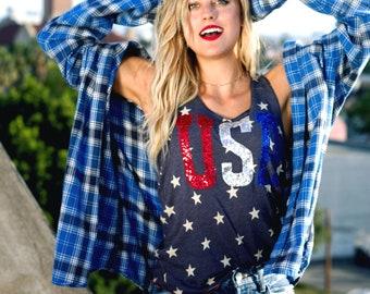 SEQUIN USA Star 4th of July Tank Shirt. Summer. 4th of July Shirt Womens. Stars Stripes. Fourth of July Shirt. America Tee. USA Tank.