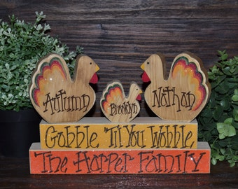 Personalized Thanksgiving Block Set-Personalized Thanksgiving Decoration Fall Decor primitive turkey block wood sign Thanksgiving Decoration