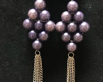 Vintage dangling purple plastic pearl and silver chain accent