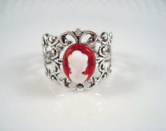 Cameo Ring Adjustable Vintage Inspired Silver Filigree Ring