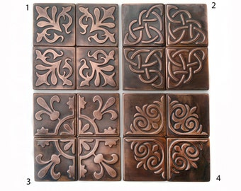 Copper, Kitchen backsplash , SET OF 4 TILES, rustic,  modern copper metal wall art, brown home décor, accent  tiles, patina