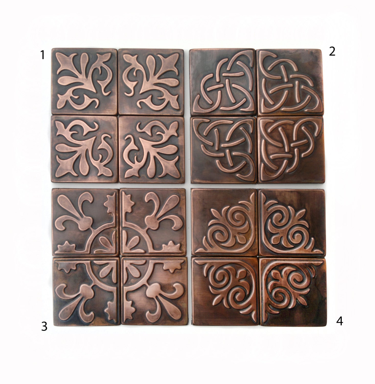 Copper kitchen backsplash set of 4 tiles rustic modern zoom dailygadgetfo Image collections