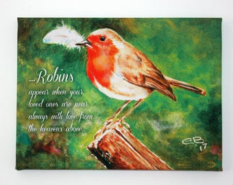 "Robins are near -  9""x12"" Canvas Print"