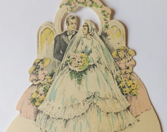 Vintage Buzza pastel 1940s 1940's 1950s 1950's place card bride and groom with little girl bridesmaids under arch ephemera