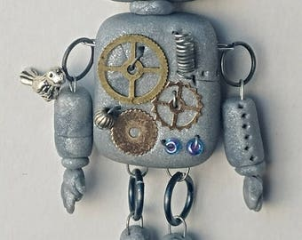 blue eyed polymer clay robot ornament