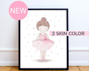 Ballerina wall art, Girls Room Decor, Pink tutu, Ballerina print, Baby girl nursery wall art, Ballerina art, Watercolor Dancer print
