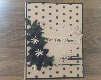Cheery For Your Shower Card, Bridal Shower Card with Navy Accents, Navy Die Cut Flowers/White Lacy Die Cut Heart
