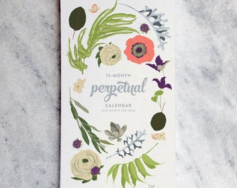 Perpetual Calendar, Birthday Calendar, Botanical Illustration, flowers, wildfllowers, floral garland and laurels