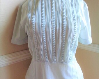 Vintage Blouse Light Blue With Ruched Front Panel and Neckline Melody Modes Hersch of Hollywood 1950s