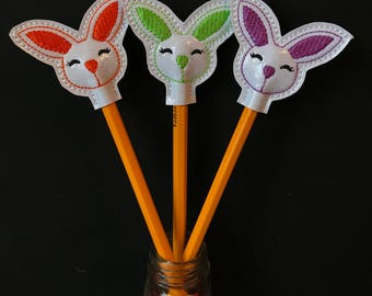 Bunny Pencil Toppers, Embroidered Bunny, Rabbit Pencils, Easter Gifts, Easter Bunny, Multicoloured Bunnies, Rabbit Pencil Toppers