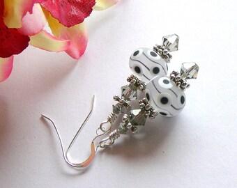 Black And White Handmade Lampwork, Chinese Lanterns, Earrings